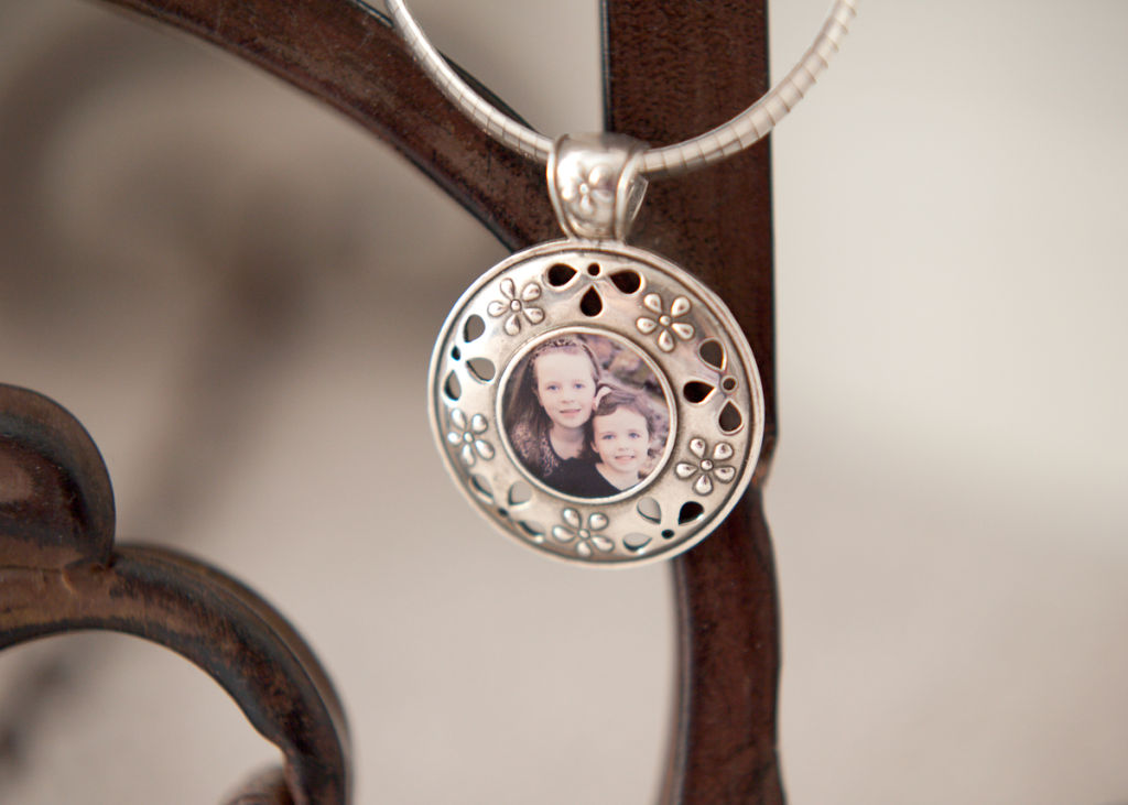 Custom sterling silver photo pendant